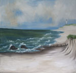 Beach Scenic Hand Painted Photo Muslin