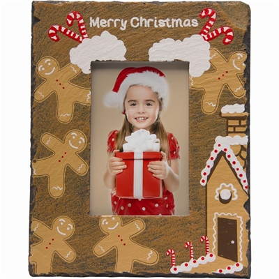Gingerbread Slate Christmas Photo Frame