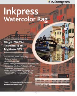 Inkpress Watercolor Rag 200 Rolls