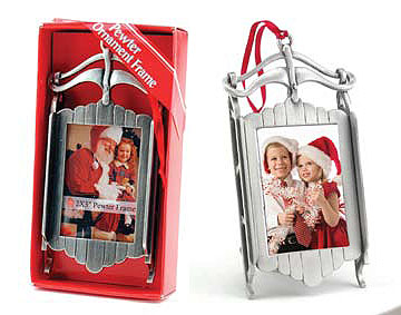 Pewter Sled Ornament Picture Frame