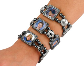 Magnetic Hematite Photo Bracelets
