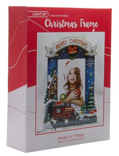 lighted merry christmas train picture frame